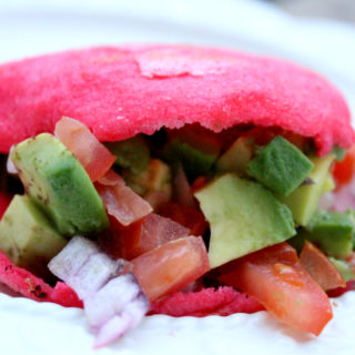 Pink Beet Arepa with Vegan Avocado Filling